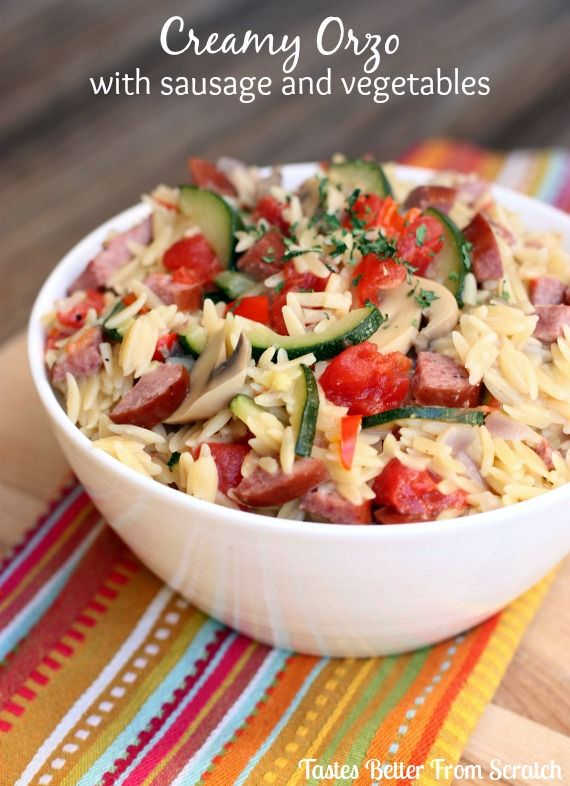 Creamy Orzo with Sausage and Vegetables  on MyRecipeMagic.com-- Super easy, one-pot #30minute meal ! #pasta #orzo