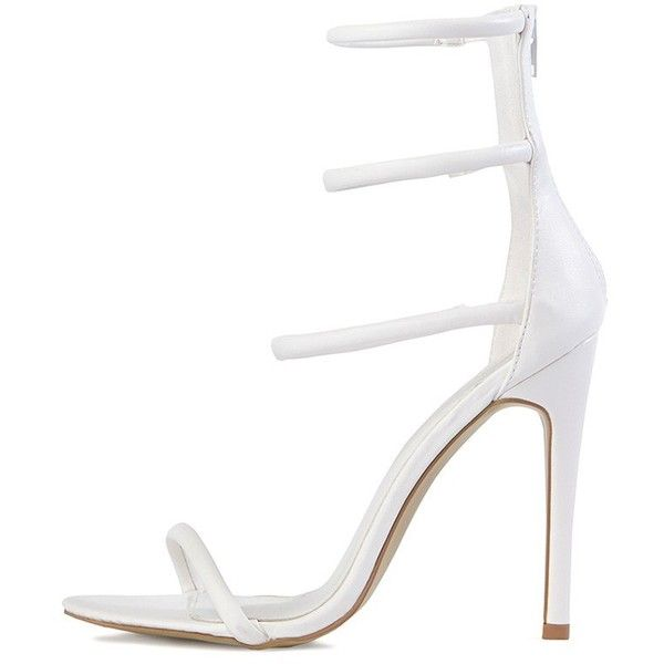 Nadine White Double Front Strap Heeled Sandals - High Heels -... (€39) ❤ liked on Polyvore featuring shoes, sandals, heels, white shoes, white sandals, synthetic leather shoes, vegan sandals and white high heel sandals