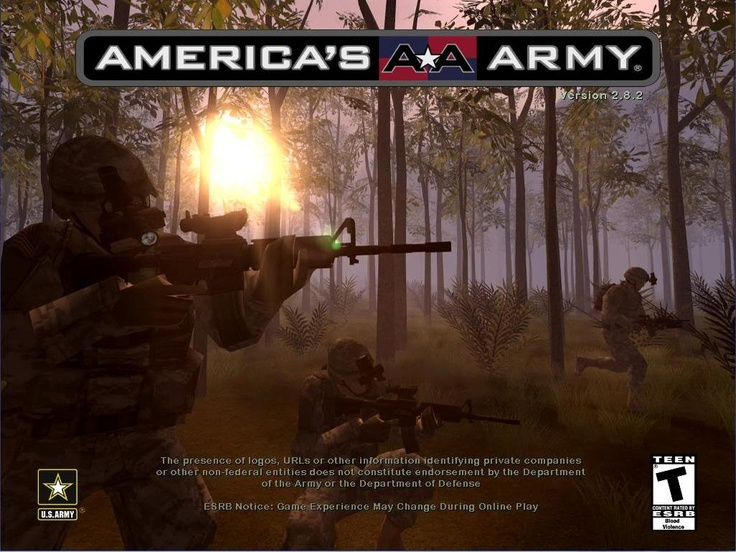 America's Army Video Game - A front cover for America's Army video game, the FPS game that was actually created by the U.S Army themselves, which gives them an insiders perspective at the war and real examples of things that they could include in the game.