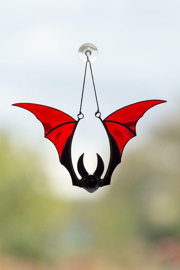 Stained glass bat suncatcher Halloween stained glass ideas Horror window decorations Creepy gifts