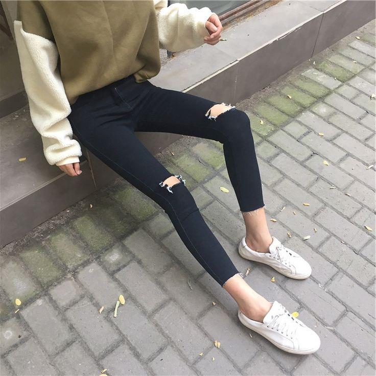 26.45$  Watch here - https://alitems.com/g/1e8d114494b01f4c715516525dc3e8/?i=5&ulp=https%3A%2F%2Fwww.aliexpress.com%2Fitem%2FKorean-washing-tight-hole-torn-black-nine-feet-pencil-pants-were-thin-waist-jeans-female%2F32784063366.html - Korean washing tight hole torn black nine feet pencil pants were thin waist jeans female 26.45$