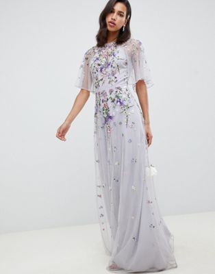5bb34f5ceab6 DESIGN Floral embroidered dobby mesh flutter sleeve maxi dress in 2019 |  And they lived happily ever after... | Maxi dress with sleeves, Asos  bridesmaid ...