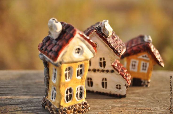 Купить Домики - коричневый, дом, домик, миниатюра, скульптура, скульптура миниатюра, красные крыши, Прага