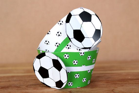 Printable 3D soccer ball (football) cupcake wrapper set by Northern Whimsy on Etsy.