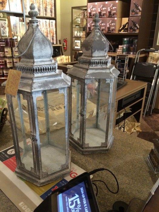 "24"" Rustic Gray Lanterns for sale at Bridal Garage Sales"