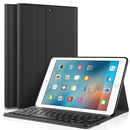"""KuGi New iPad 9.7 2017 keyboard case, Ultra Lightweight Stand Portfolio cover case with Detachable Bluetooth Keyboard for Apple New iPad 9.7 2017 tablet (Black)  DETACHABLE Bluetooth V3.0 keyboard that works seemlessly with your Apple New iPad 9.7 2017 Verizon/Apple New iPad 9.7 2017 Tablet  Real """"hard"""" laptop style keyboard, giving you better typing experience than silicone keyboard as other cases  Premium PU leather and microfiber interior adds comfort and an additional layer of Prot..."""