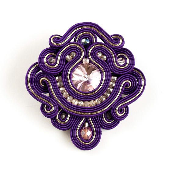 Purple statement soutache brooch violet beaming brooch