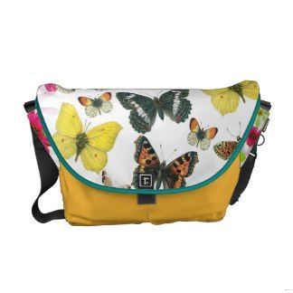 Vintage Blue Red Yellow Colorful Butterflies Courier Bag