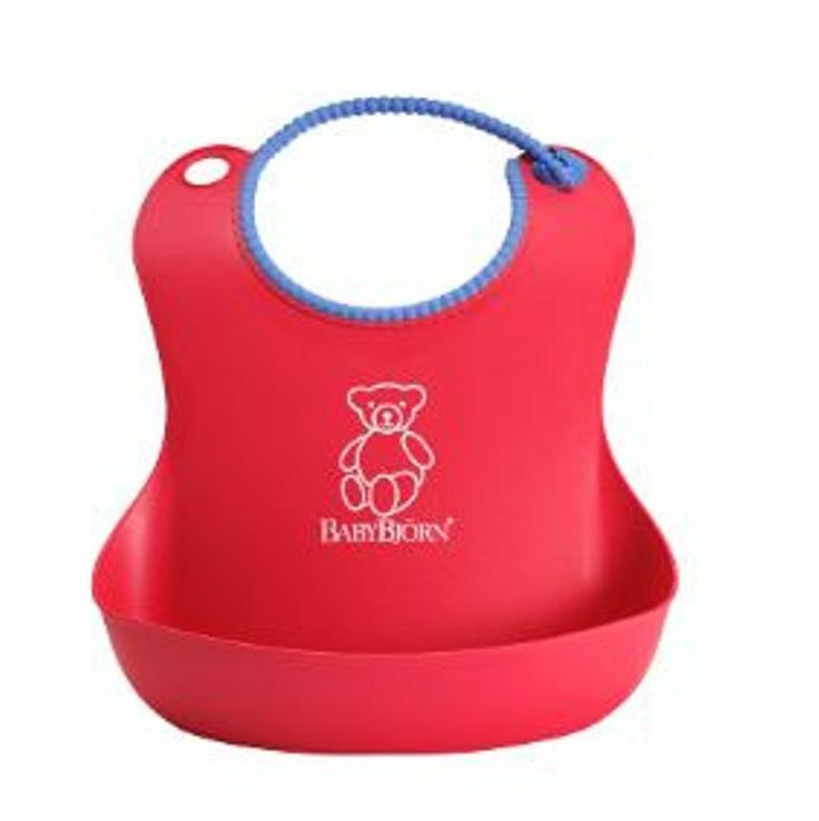 BabyBjorn Soft Bib in Bright Red The soft bib can be used for a long time due to it's adjustable snap. The spilt food remains in the pocket even if your baby moves around. The BabyBjorn soft bib is so easy to clean , just rinse off under running water.
