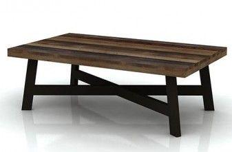 Coastal Coffee Table in reclaimed hardwood with cris-cross leg detail. Michael Murphy Furniture Coffee Tables