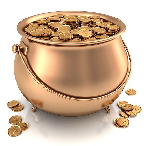 pot of gold - find a Halloween black cauldron & spray paint for a centerpiece.