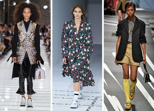 Spring summer 2018 fashion trends: sneakers at Louis Vutton, Lacoste, Prada