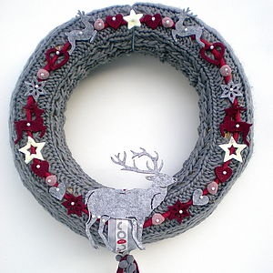 Christmas Knitted Wreath With Reindeer - christmas decorations
