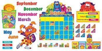 Furry Friends Calendar Bulletin Board Set $14.99