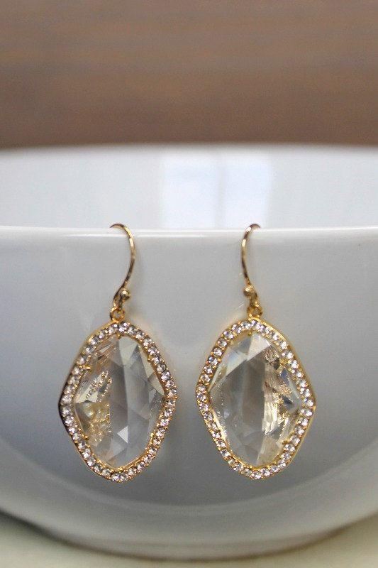 Wedding earrings crystal glass earrings by BatelBoutiqueBridal