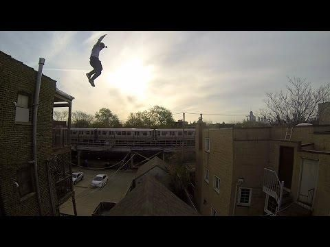 Crazy Guy Ethan Swanson Jumps From The Roof - #crazy #parkour
