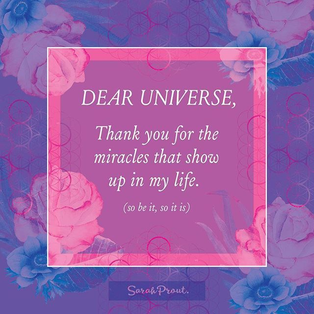 Dear Universe, Thank you for the miracles that show up in my life. (So be it, so it is). If we set intentions and fill ourselves up with gratitude that the miracles are on their way to us, then more than likely they will appear in perfect Divine timing. #DearUniverse #Invocation