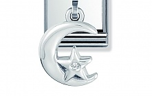 Nomination Stainless Steel and Sterling Silver Moon and Star with Cubic Zirconia Charm