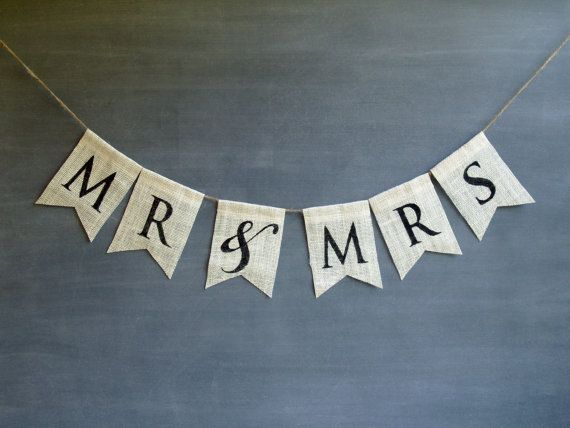 Mr & Mrs burlap banner in black lettering, wedding, elopement, shower, anniversary, engagement bunting. on Etsy, $22.00