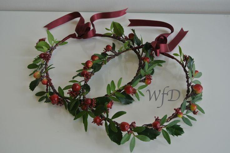 Bridesmaids winter floral crowns, berries and holly.
