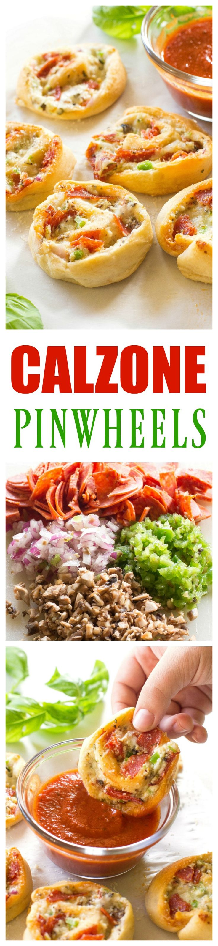 Calzone Pinwheels - pepperoni, mushrooms, onion, and green bell pepper. Guess we should call these Supreme Calzone Pinwheels! the-girl-who-ate-...