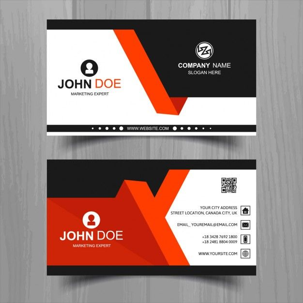 Modern business card with red and black geometric shapes Free Vector