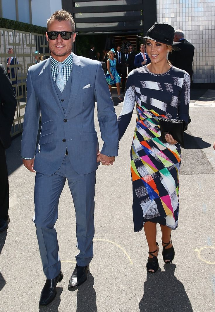 Lleyton and Bec Hewitt at the Melbourne Cup, 2015