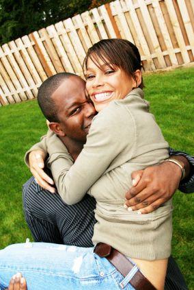 happy, loving black couple