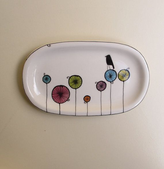Ceramic colorful black bird tray for her spring by catherinereece, $20.00