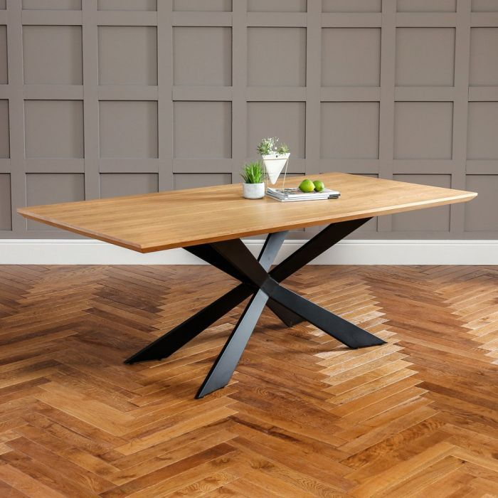 Vito Industrial Oak 2m Dining Table With X Frame Base 8 Seater