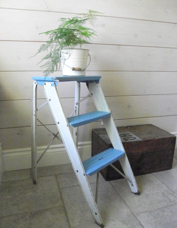 Vintage Metal Step Ladder  Folding Metal Step Stool Retro Blue and White by gazaboo