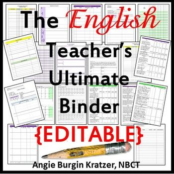 This EDITABLE English teacher binder has sections for data, curriculum, grades, attendance, textbooks, learner profiles, lesson plans, sub info, meeting notes, and more! $