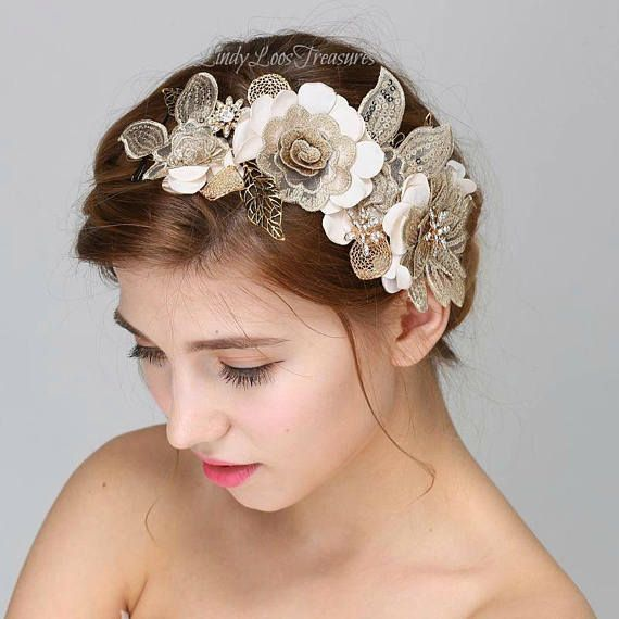 Stunning Baroque Wedding Hair Piece with Gold Leaves Crystals