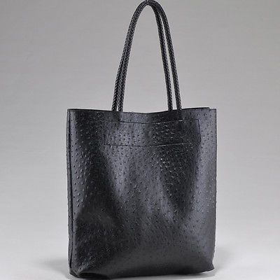 Alyssa Black Ostrich Tote Shoulder Bag W Braided Handles Removable Zip Pouch