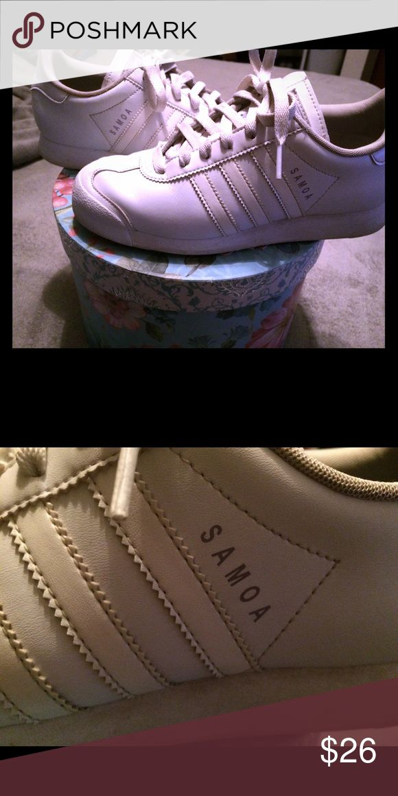 Adidas Somas White size 6 adidas somas , much loved but has a lot of life left in them! Some fading of the adidas logo on the back of the ankle but still very cute ❤️ Adidas Shoes Athletic Shoes