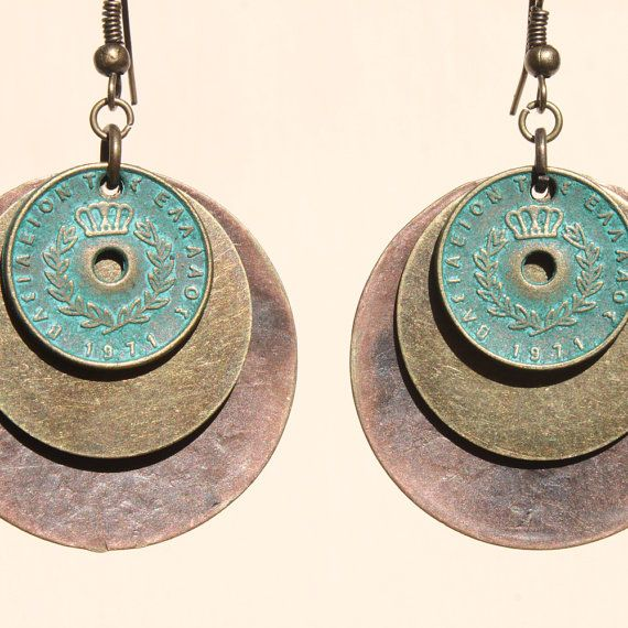 Boho Earrings Bohemian Earrings Patina Turquoise Blue Green Earrings Mixed Metal Copper Brass Dangle Boho Jewelry Gift Ideas Fall Earrings
