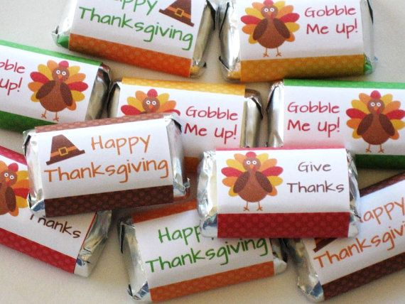 Printable Thanksgiving Hershey Candy Wrappers - DIY Thanksgiving Party Favors - Turkey Candy Labels - INSTANT DOWNLOAD