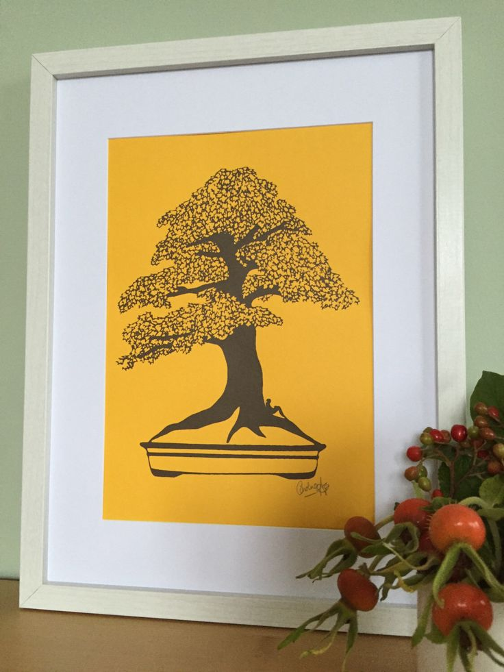 Autumn Brown Print Collection, Framed print, Screen print art, A4 print, Handmade gifts, Bonsai, Bookworm gifts, Original art, Signed print by CarolineArgo on Etsy https://www.etsy.com/uk/listing/479010659/autumn-brown-print-collection-framed