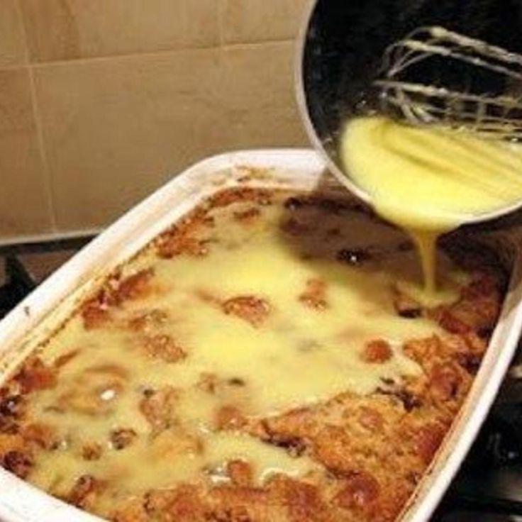 Grandma's Old-Fashioned Bread Pudding with Vanilla Sauce Recipe 2   Just A Pinch Recipes