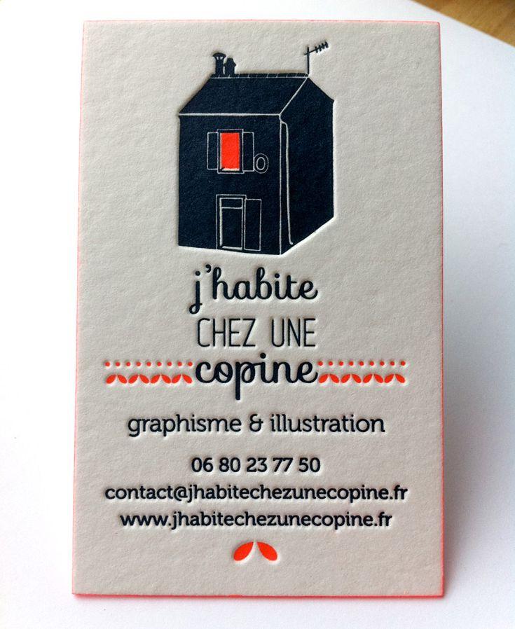Impression carte de visite 8,5 x 5,5 cm, débossage 2 couleurs R° + couleur sur tranches sur papier 500g.