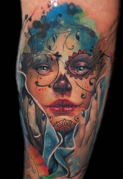 Amazing sugar skull tattoo - the level of detail and use of color is incredible