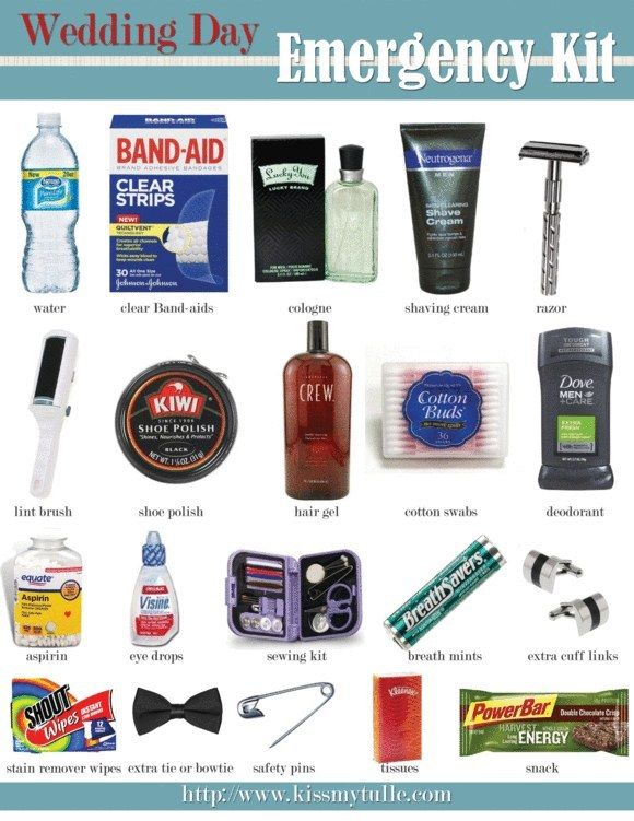And this one that'll make sure the groom is prepared, too. | 19 DIY First Aid Kits That Will Prepare You For Literally Anything