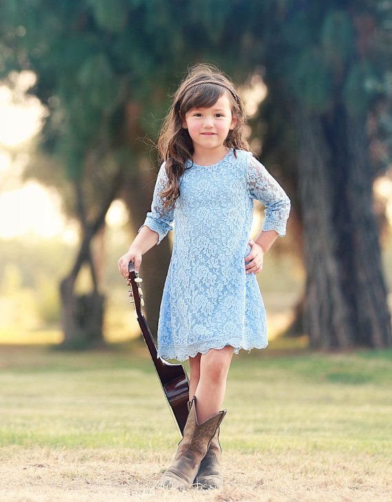 Ship- Light Blue Lace Dress- 3/4 sleeve, Flower Girl, Ivory, Wedding, Outfit, Birthday, Girl, Toddler, country, rustic dress