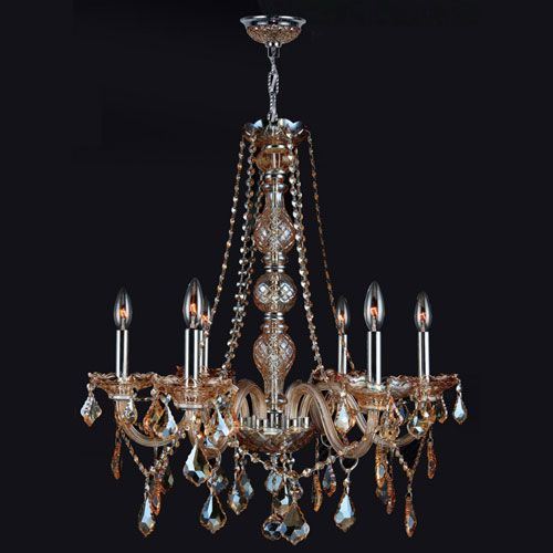 Worldwide Lighting Corp Provence Six Light Chrome Finish With Amber Crystal Chandelier On SALE