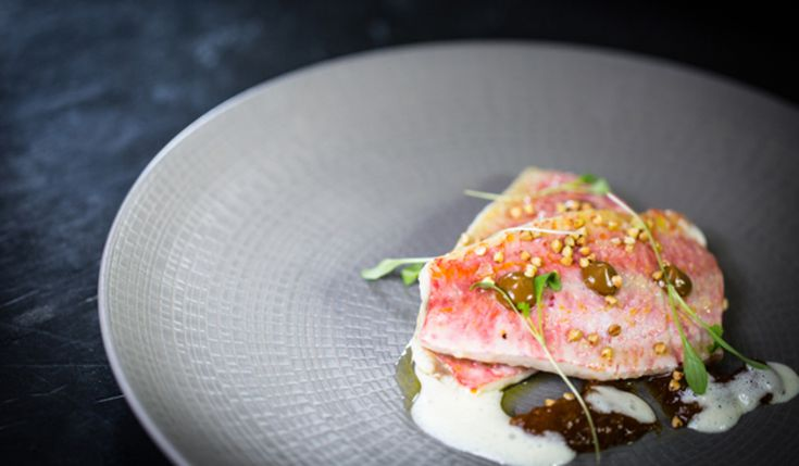 Red Mullet, pear & saffron, lemongrass, Black garlic, buckwheat recipe by professional chef by Steve Drake