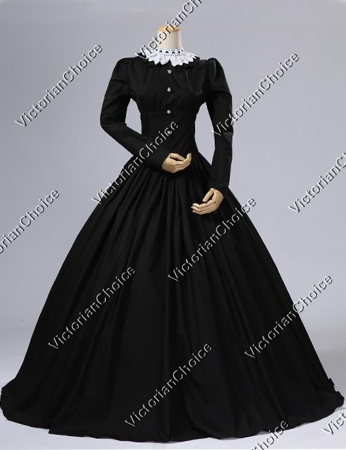 Victorian Gothic Black Dress Gown Reenactment Halloween Costume Steampunk