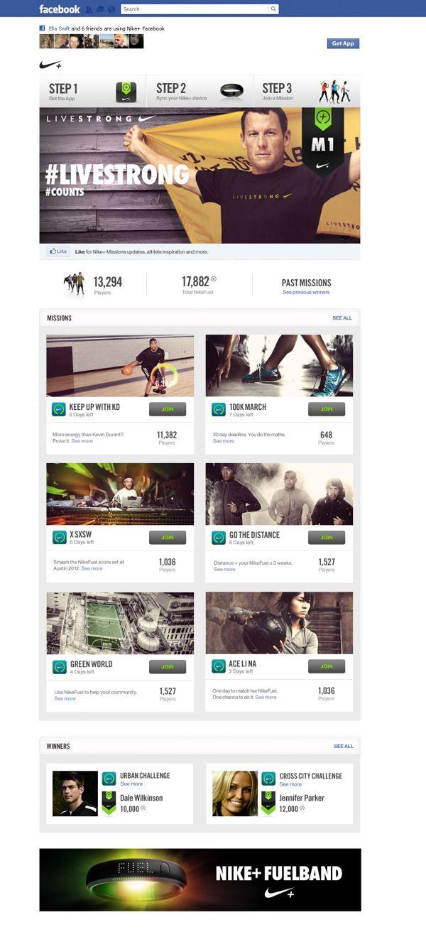 Nike+ Missions Facebook App by Mike Yee, via Behance
