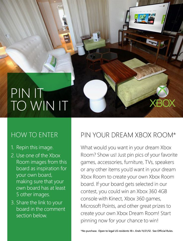 It's a Pinterest contest! Pin your dream Xbox room for a chance