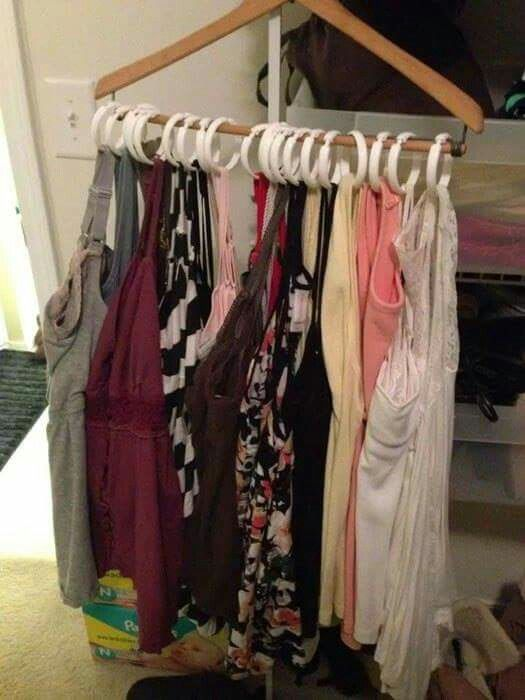 Hang tanks using one hanger and shower clips. Genius!