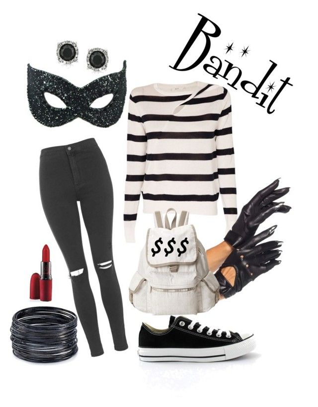 Bank Robber Halloween Costume by jessica-humbert on Polyvore featuring A.L.C., Topshop, Masquerade, Converse, LeSportsac, ABS by Allen Schwartz, Mark Broumand, MAC Cosmetics, DIY and Halloween